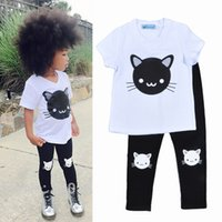 baby girl kitten - hot Kids Bobo Choses Cat print Sets Baby girl boy spring summer Cartoon Kitten Printing outfit Short Sleeve T shirts Pants
