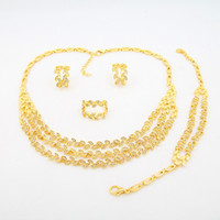Wholesale Small Leaves Plants - 2016 new 24k gold plated alloy Jewelry Set 4 small leaves have a diamond shape elegant beautiful golden four sets