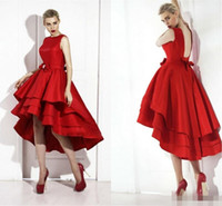 Wholesale Little Red High Low Tea Length Short Cocktail Dresses New Tiered Satin Skirt Prom Dresses Sexy Backless Lace Up Evening Party Gowns