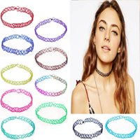Wholesale Women Men Vintage Handmade Choker Punk Necklace Knitted Necklace Stretch Tattoo Elastic Hip Hop Grunge Statement Necklaces Jewelry ZJ N01