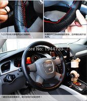 beige car interior - DIY Genuine Cowhide Car Braid Leather Steering Wheel Cover CM Universal Size Black Grey Beige Brown Color Interior Accessory