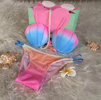 bandeau bikini neon - 10sets LLA316 PrettyBaby Neon Ombre Seashell Shaped Bikini Strapless Bandeau Handmade Mermaid Padded Push Up Rainbow Swimwear Set