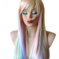 Wholesale Blonde Pastel color highlights rainbow wig multi colorful wig Long straight hair Heat resistant Fairy princess with bangs