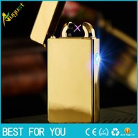 metal cross - 2016 Male gift Arc Lighters metal USB Rechargeable Flameless Electric Arc Windproof Cigar Cigarette Lighter Cross Double Pulse Slim Ligh