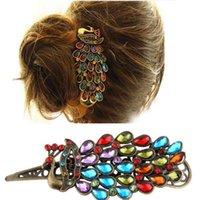 achat en gros de pince à cheveux de paon métallique-Hair Clip rétro strass Crystal Hollow Peacock Décoration Épingle Metal Livraison gratuite