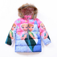 Wholesale Newest Frozen Anna Elsa Princess Girl Coats Long Style Hoodies Fur Long Sleeve Thicken Warm Kids Jackets Christmas Birthday Coats Outwear