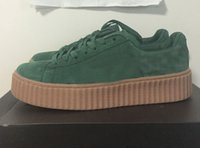 Wholesale Fenty Suede Creeper Green Black White BY rihanna X Fenty SIZE EUR