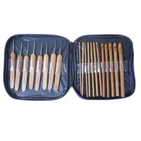 Wholesale 20Pcs Bamboo Crochet Hooks Knitting Weave Needles Set with Case E2shopping