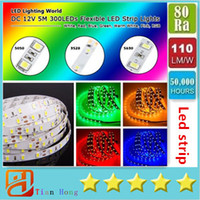 Wholesale 5M Led Strips Light Warm White Red Green Blue Pink Purple RGB Flexible M Roll Leds V outdoor Ribbon