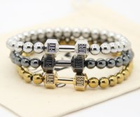 magnetic hematite - 2016 Hot Sale Men s Power Jewellry mm No Magnetic Hematite Beads with Alloy Metal Fitness Dumbbell Charm Bracelets