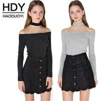 Wholesale HDY Haoduoyi Woman Fashion Autumn Colors Choker Slash Neck Full Sleeve Lady Shirt Slim Off Shoulder Sexy T shirts