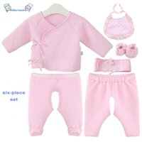 Wholesale Four season Pink months newborn baby six piece set underwear sets cotton with Bibs Foot Cover Pants