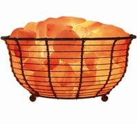 ar decors - Himalayan Natural Crystal Salt Lamp Natural Ar Purifier Night Light Natural Home Decor Wide Basket Lamp Atmosphere Decorative Lamp