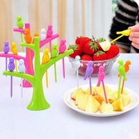 Wholesale 480pcs LJJG180 Tree Birds Design Plastic Fruit Forks Set Rainbow Color Party Reuse Dessert Cake Fruit Picks Kitchen Accessories