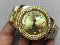 Wholesale 41MM Luxury Brand Mens Watch DAY DATE Diamond Bezel Gold Dial Automatic Movement Mechanical Sapphire Glass Gold Stainless Steel Men Watches