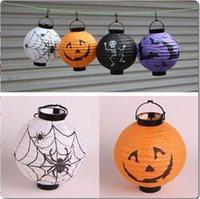 Wholesale Halloween Pumpkin Spider Ghost Bats Paper Lantern Lamp outdoor Decoration light