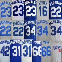 Wholesale la Los Angeles Dodgers Clayton Kershaw Yasiel Puig Adrian Gonzalez Fernando Valenzuela Jackie Robinson Baseball Jerseys