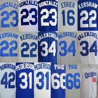 angeles tassels - Los Angeles Dodgers Clayton Kershaw Yasiel Puig Adrian Gonzalez Fernando Valenzuela Jackie Robinson men MLB jerseys