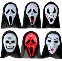 Wholesale New Halloween Plastic Mask for Adult Fashion V Vendetta Mask Decorative Props Full Face Colors Ribbon Blush Cosplay Party Ball Costume