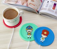 Wholesale 2016NEW USB Rubber Heat Warmer Heater Milk Tea Coffee Mug Hot Drinks Beverage Cup Round insulation coasters cartoon heat keep warm mats