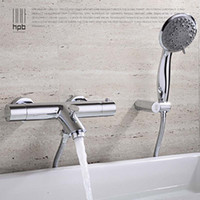 Wholesale Han Pai Brass Thermostatic Faucet Bathroom Shower Faucets Wall Mounted Bathtub Mixer Bath Set torneira banheiro chuveiro HP5201