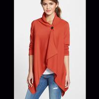 Wholesale Fashion Casual Loose Long Sleeve Collar One Button Long Gray Green Black Orange Four Colors Three Code Irregular Jacket