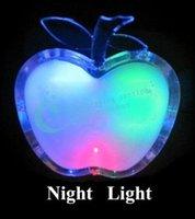 bedside lamps children - Beautiful Colorful LED Apple Night Light EU Plug Bedside Lamp LED Energy saving Wall Lamp Nightlight for Children Gift