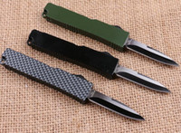 aluminum knife - mini microtech Key buckle knife aluminum T6 green black carton fiber plate double action Folding knife gift knife xmas knife