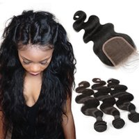 Wholesale 7A Grade Brazilian Hair Bundles with Lace Closure Malaysian Peruvian Cambodian Human Hair Weft with Closure Brazilian Body Wave