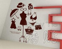 bags for storing clothes - Lady Clothes Shop Vinyl Decal Beauty Shop Dress Bikini Hat Bag Shoes Mural Wall Sticker Store Window GlassRoom Home Decoration