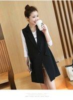 Wholesale Winter Autumn Season New Arrival Fashion Outerwear Black Color XL XL Plus Sizes Women Clothing Sleeveless Single Button Slim Long Veats