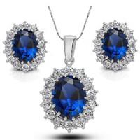 achat en gros de zircone jewerly-Cubic Zirconia Et Cristal Autrichien Saphir Bijoux Ensembles Pour Femmes Bijoux De Mode Jewerly 2016 Bridal Wedding Jewelry Set