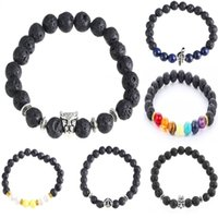 balance bar gold - Lava Stone Beads Natural Stone Bracelet Healing Balance Beads Anchor Lion Tiger Charm Bracelets For Women Men Stretch Yoga