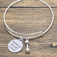 believe fitness - 12pcs Barbell Charm Bracelet Fitness She believed she could so she did Divorce Break up Gifts Silver Charm bangles