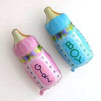 baby bouquet gifts - Cartoon Milk Bottle Shape Mini Foil Balloons For Baby Birthday Party Decor Baby Balloon Helium Kids Gifts Balloon Toys
