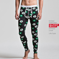 Wholesale Brand Sexy Men s Cotton Healthy Medium thickness Long Johns Fashion Pants Warm Thermal Flower Print Underwear Superbody