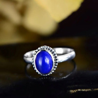afghanistan lapis - New arrival authentic sterling silver vintage Pandora ring inlay Afghanistan Lapis lazuli Europe and American style