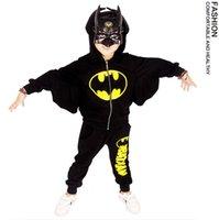 batman costume hoodie - 2016 Children Batman Hoodie batwing sleeve Sweater Two piece Sets Mask hoodie coat pants Kids holloween clothes cosplay costume EMS DHL free