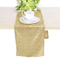 Wholesale Premium Quality x Inch Light Gold Sequin Embroidered Table Runners for Round Tables Home Party Decoration
