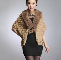 Wholesale Hot sale Camel Winter Women s knitting wool sweater with real rabbit fur collar pompom ball Cashmere Shawl Thick Warm Wrap
