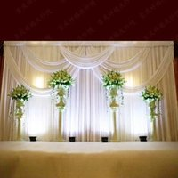 cake icing - 3 m ft ft Milk White Wedding Curtain Backdrops with Swag High Quality Ice Silk Material Wedding Party Stage Decorations