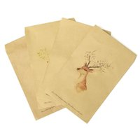 Wholesale set Kraft Paper Vantage Style Cute Colorful Painted Animal Deer Wallet Envelope for Business Wedding Party Gift Envelopes