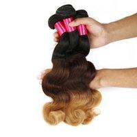 Extensiones de cabello ombre tres tonos rubio 1B / 4/27 Mejores 8A ombre onda brasileña del cuerpo peruana de Malasia Remy de la Virgen de la armadura de haces de pelo Humanos
