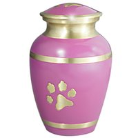 Wholesale Cremation Urn for Pet Ashes Hand Made in Brass Fits the Cremated Remains and Ashes of Dogs Cats or other animals PINK PAW PRINT