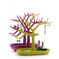 Wholesale Tree Shaped Acylic Display Stand Colors Trinket Box Jewelry Necklace Ring Earring Holder Rack Storage