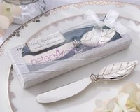 Wholesale Fedex DHL Free Chrome Leaf Spreader Autumn Fall Theme Bridal Shower Butter knife Cheese tool Wedding Gift Favors