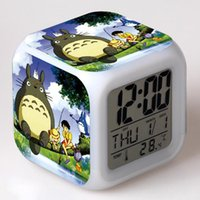 Wholesale Totoro Japanese Anime Catoon Clock Digital Led Watch Desktop Clock Color Light Square Desk Clock with Alarm Thermometer Children Gift