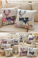 Wholesale 2016 Fashion pillow case pillowcase Christmas decoration home sofa cover Reindeer Car Cotton linen quality cm digital printing
