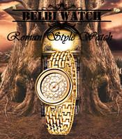 Relojes de pulsera de acero redondo de las mujeres del estilo romano de lujo a prueba de agua Movimiento de cuarzo japonés de China reloj de oro Marca Belbi