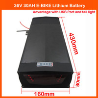 Wholesale 1000W V Electric Bike lithium battery V AH Use for samsung mah cells With USB Port and Tail Light A BMS A charger